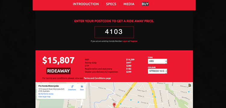 motorcycles.honda.com.au website ride away price