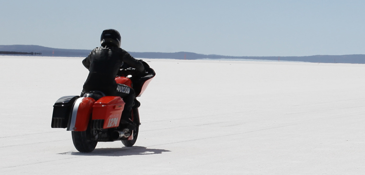 Harley-Davidson Street Glide called Pepper at its speed record attempt at Lake Gairdner