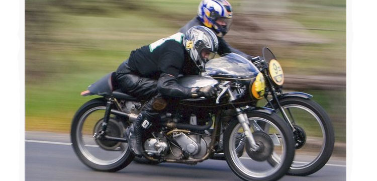 Close action in historic road racing